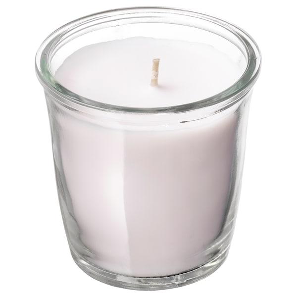 SMÅTREVLIG スモートレヴリグ 香り付きキャンドル グラス入り, バニラ&シーソルト/ナチュラル, 7 cm
