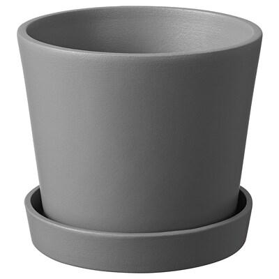 スムルグッベ 植木鉢 受け皿付き, コンクリート調 グレー/屋外用, 12 cm