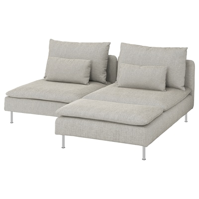 SÖDERHAMN ソーデルハムン 2人掛けソファ, 寝椅子付き/ヴィーアルプ ベージュ/ブラウン