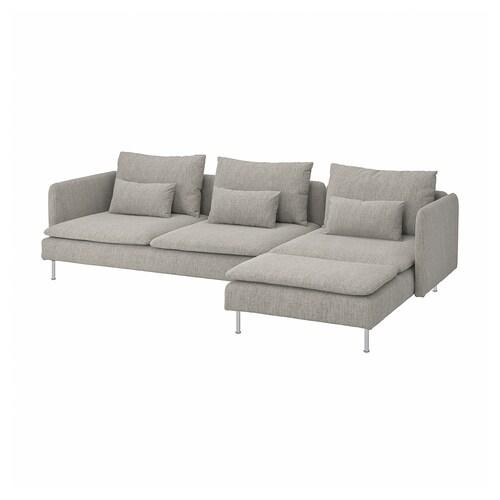 ソーデルハムン 4人掛けソファ 寝椅子付き/ヴィーアルプ ベージュ/ブラウン