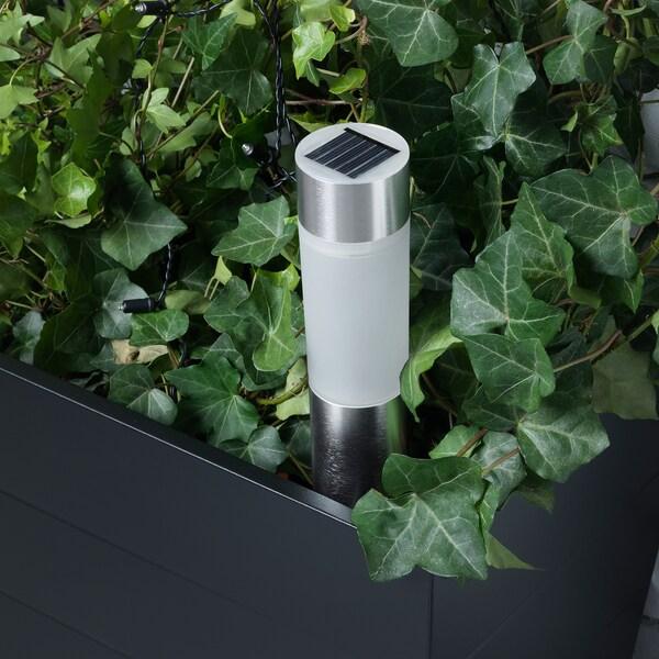 ソルヴィンデン LED太陽電池式照明 円筒形/アルミカラー 25 cm 6 cm