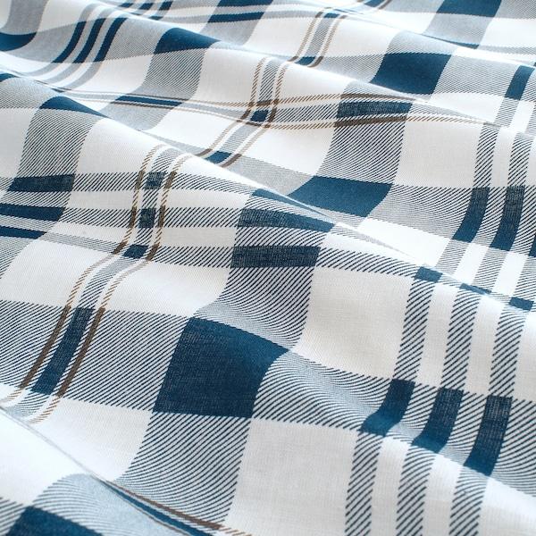 スピクヴァッルモ 掛け布団カバー&枕カバー(枕カバー2枚), ホワイト ブルー/チェック, 200x200/50x60 cm