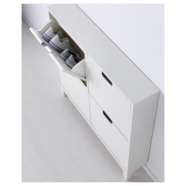ステル 靴収納用キャビネット 4コンパートメント ホワイト 96 cm 17 cm 90 cm