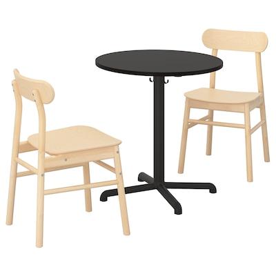 STENSELE ステーンセレ / RÖNNINGE ロッニンゲ テーブル&チェア2脚, チャコール/チャコール バーチ, 70 cm