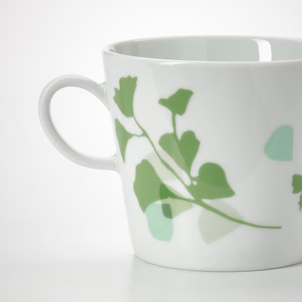 STILENLIG スティーレンリグ マグ, 葉っぱ模様 ホワイト/グリーン, 33 cl