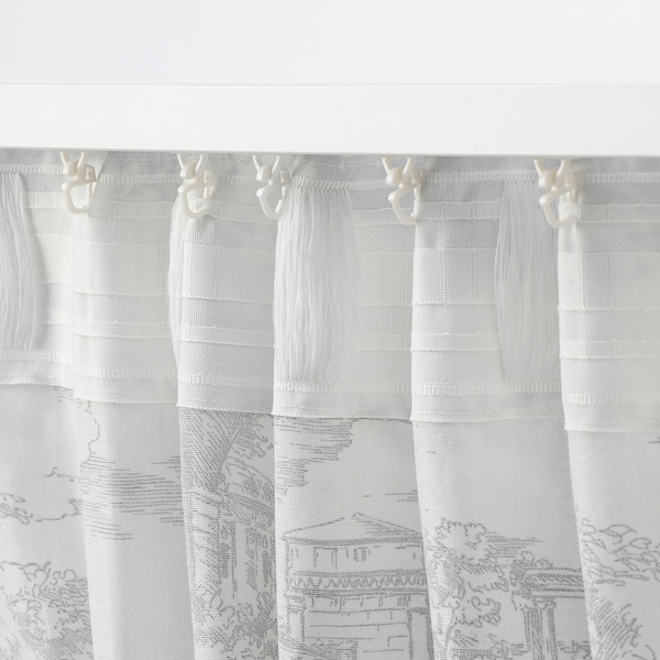 STJÄRNRAMS シェールンラムス カーテン1組, ホワイト/グレー, 145x250 cm