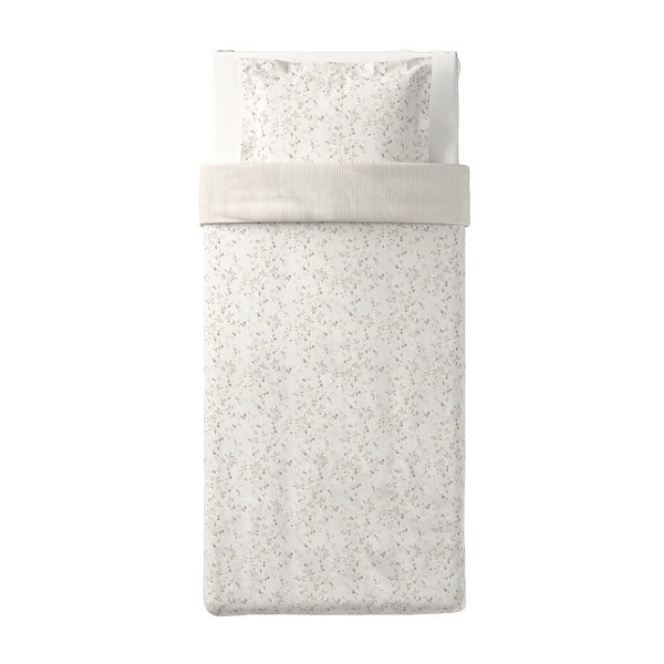 STRANDFRÄNE ストランドフレーネ 掛け布団カバー&枕カバー, ホワイト/ライトベージュ, 150x200/50x60 cm