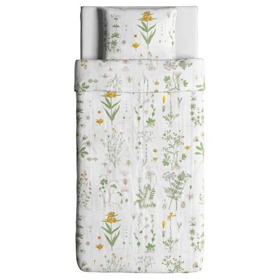 STRANDKRYPA ストランドクリパ 掛け布団カバー&枕カバー, フローラルパターン/ホワイト, 150x200/50x60 cm