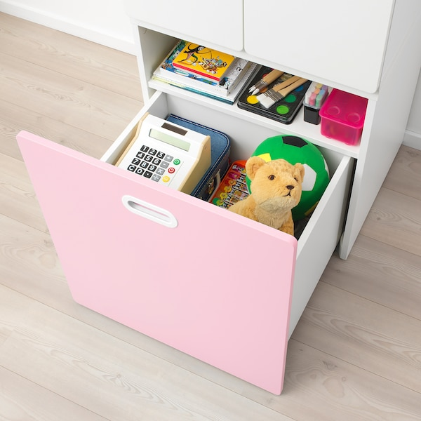 STUVA ストゥヴァ / FRITIDS フリーティズ ワードローブ おもちゃ収納付き, ホワイト/ライトピンク, 60x50x192 cm