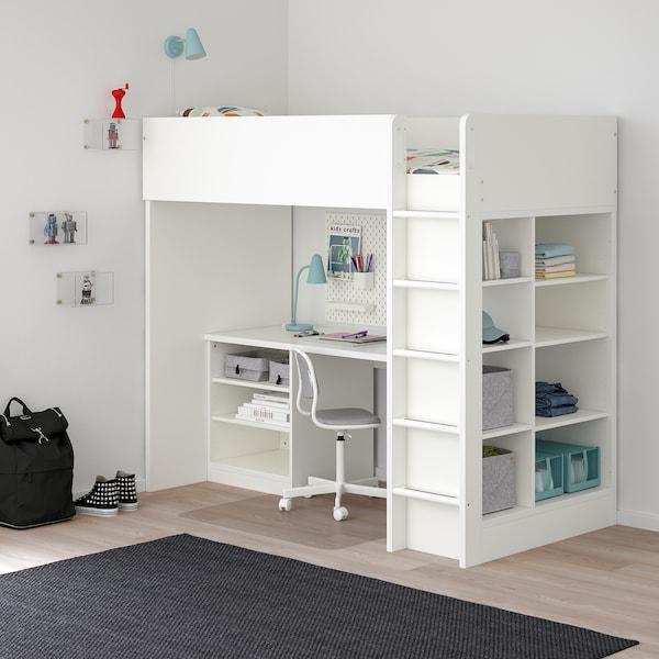 STUVA ストゥヴァ ロフトベッドフレーム デスク&収納付き(棚板×2/棚板×3), ホワイト, 207x99x182 cm