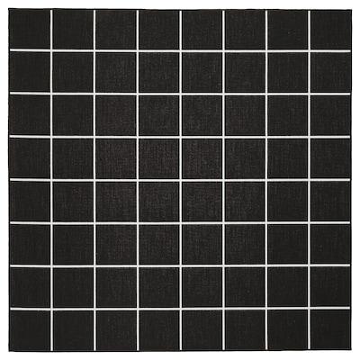 SVALLERUP スヴァレルプ ラグ 平織り、室内/屋外用, ブラック/ホワイト, 200x200 cm