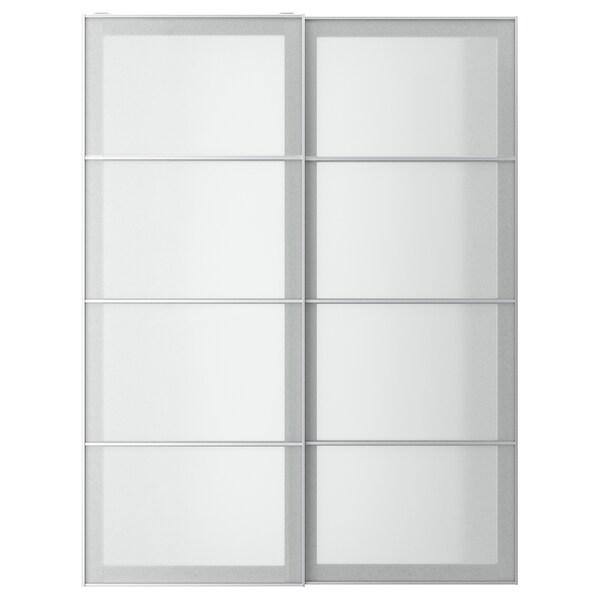 SVARTISDAL スヴァルティスダール 引き戸 2枚組, ホワイト ペーパー調, 150x201 cm