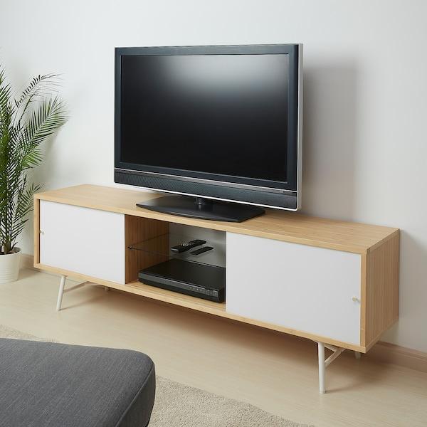 SVENARUM スヴェナルム テレビ台 引き戸付き, 竹/ホワイト, 170x35x54 cm
