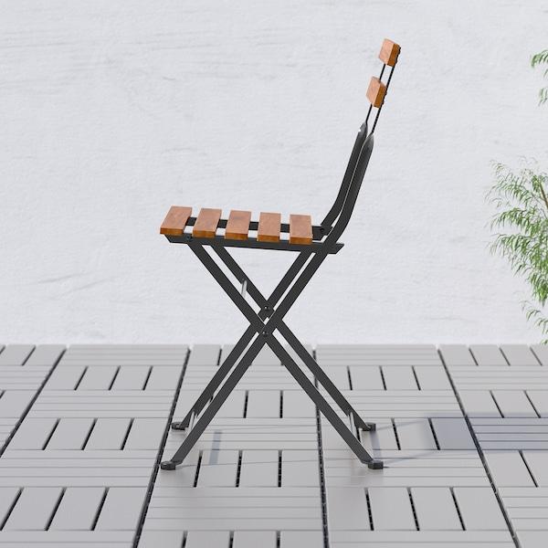 TÄRNÖ テルノー チェア 屋外用, 折りたたみ式 ブラック/ライトブラウンステイン