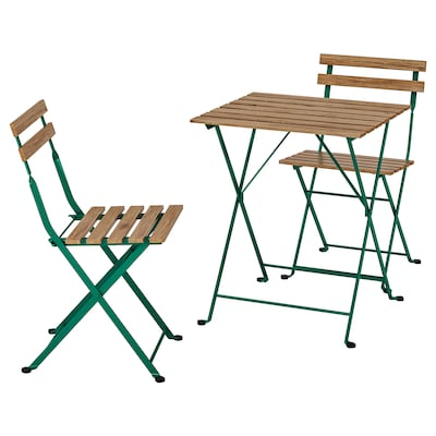 TÄRNÖ テルノー テーブル&チェア2脚 屋外用, ダークグリーン/ライトブラウンステイン