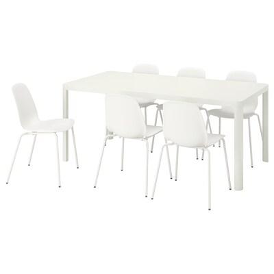 TINGBY ティングビー / LEIFARNE レイフアルネ テーブル&チェア6脚, ホワイト/ホワイト, 180 cm