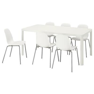 TINGBY ティングビー / LEIFARNE レイフアルネ テーブル&チェア6脚, ホワイト/ホワイト, 180x90 cm