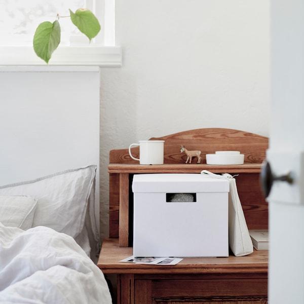 TJENA ティエナ 収納ボックス ふた付き, ホワイト, 25x35x20 cm