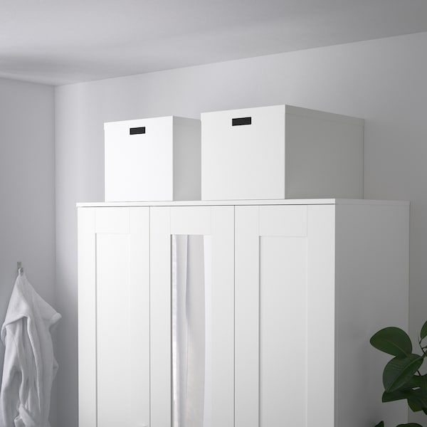 TJENA ティエナ 収納ボックス ふた付き, ホワイト, 35x50x30 cm