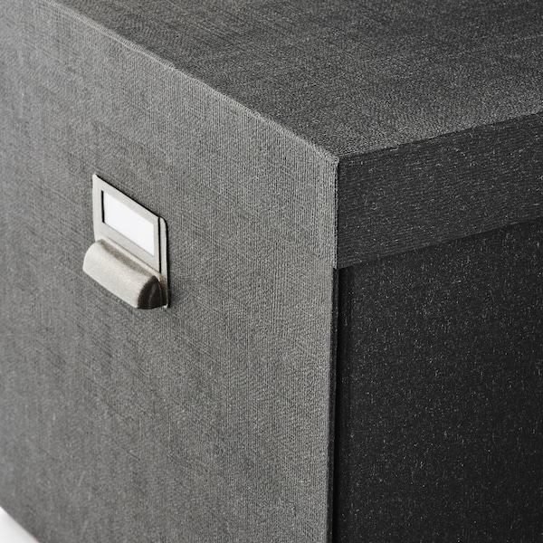 TJOG チョーグ 収納ボックス ふた付き, ダークグレー, 32x31x30 cm