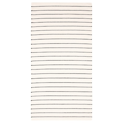 TÖRSLEV トルスレーヴ ラグ 平織り, ストライプ ホワイト/ブラック, 80x150 cm