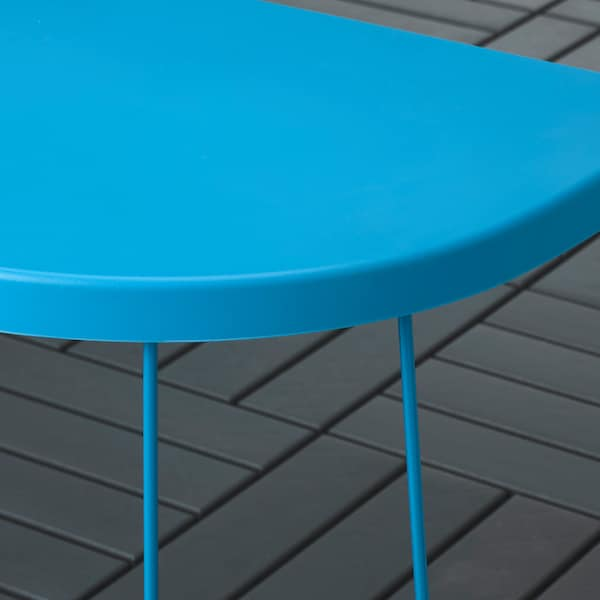 TRANARÖ トラナロー スツール/サイドテーブル、室内/屋外用, ブルー, 56x41x43 cm