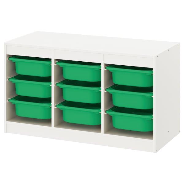 TROFAST トロファスト 収納コンビネーション, ホワイト/グリーン, 99x44x56 cm