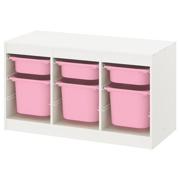 トロファスト 収納コンビネーション, ホワイト ピンク/ピンク, 99x44x56 cm