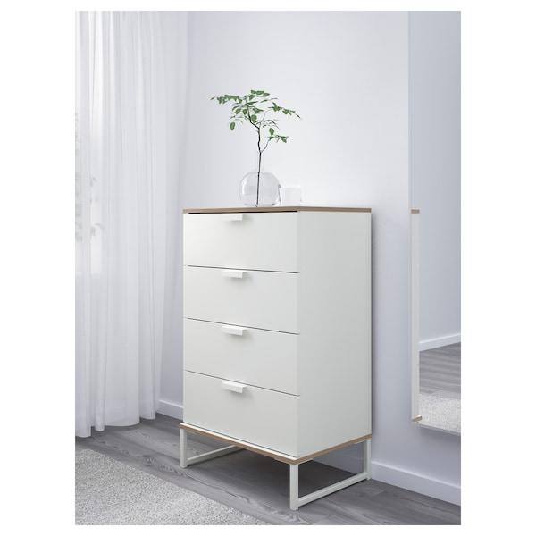 TRYSIL トリスィル チェスト(引き出し×4), ホワイト/ライトグレー, 60x99 cm