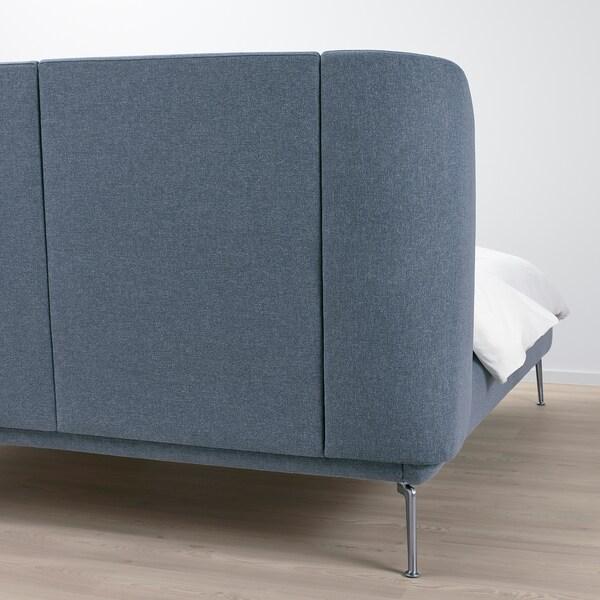 TUFJORD トゥフョールド 布張りベッドフレーム, グンナレド ブルー, 140x200 cm