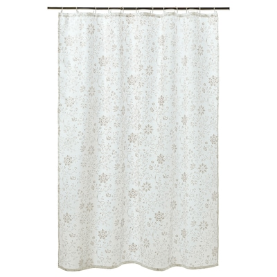 TYCKELN ティッケルン シャワーカーテン, ホワイト/ダークベージュ, 180x200 cm