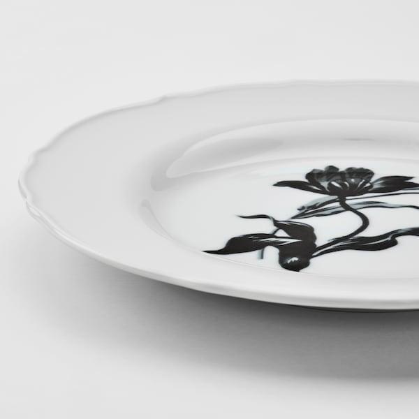 UPPLAGA ウップラーガ サイドプレート, ホワイト/模様入り, 22 cm