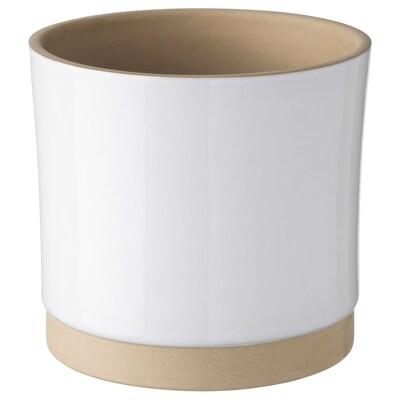 UPPVAKTA ウップヴァクタ 鉢カバー, ホワイト/ナチュラル, 12 cm