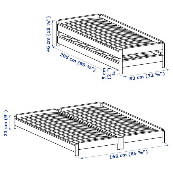 UTÅKER ウトーケル スタッキングベッド マットレス2枚付き, パイン材/モースフルト かため, 80x200 cm