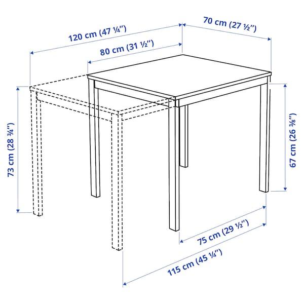 VANGSTA ヴァングスタ 伸長式テーブル, ホワイト, 80/120x70 cm