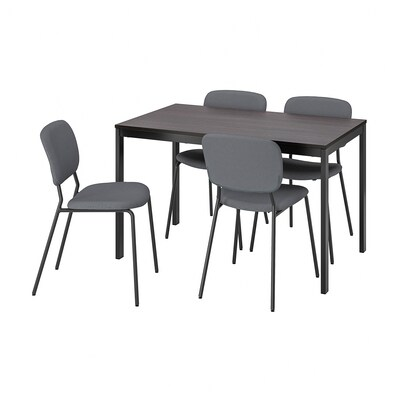 VANGSTA ヴァングスタ / KARLJAN カールリアン テーブル&チェア4脚, ブラック ダークブラウン/カブーサ ダークグレー, 120/180 cm