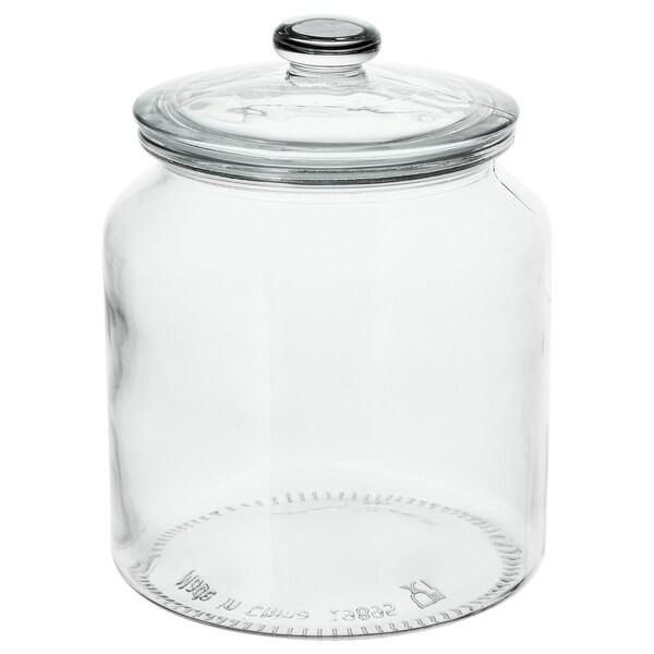 VARDAGEN ヴァルダーゲン ふた付き容器, クリアガラス, 1.9 l