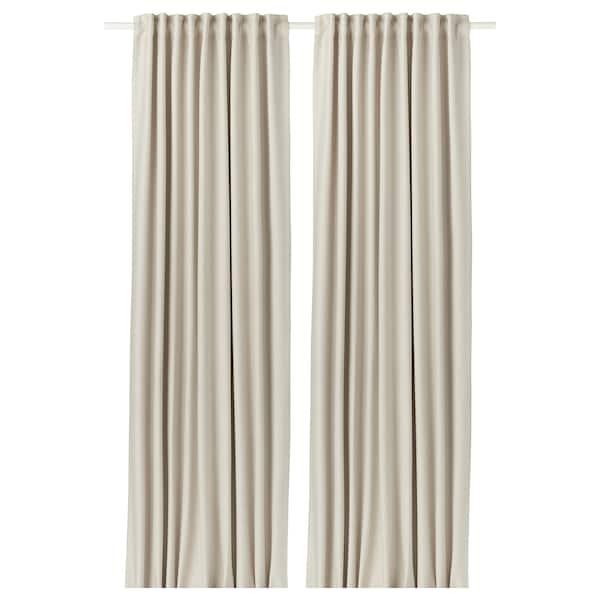 VILBORG ヴィルボリ 遮光カーテン(わずかに透光) 1組, ベージュ, 145x135 cm