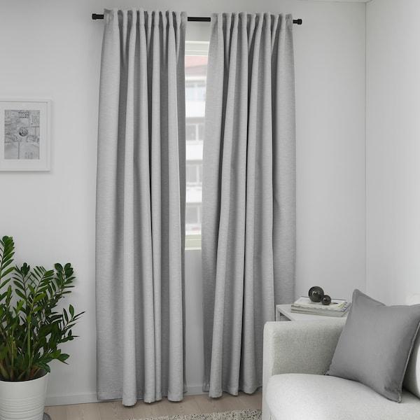 VILBORG ヴィルボリ 遮光カーテン(わずかに透光) 1組, グレー, 145x250 cm