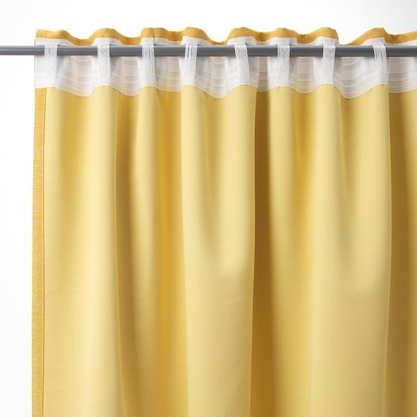 VILBORG ヴィルボリ 遮光カーテン(わずかに透光) 1組, イエロー, 145x135 cm