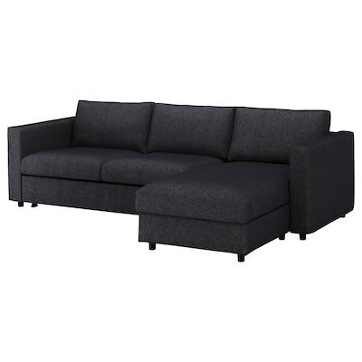 VIMLE ヴィムレ 3人掛けソファベッド, 寝椅子付き/タルミーラ ブラック/グレー