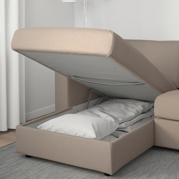 VIMLE ヴィムレ 3人掛けソファ, 寝椅子付き/タルミーラ ベージュ