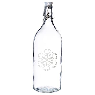VINTER 2020 ヴィンテル 2020 ボトル ふた付き, クリアガラス/雪の結晶模様 ホワイト, 1 l