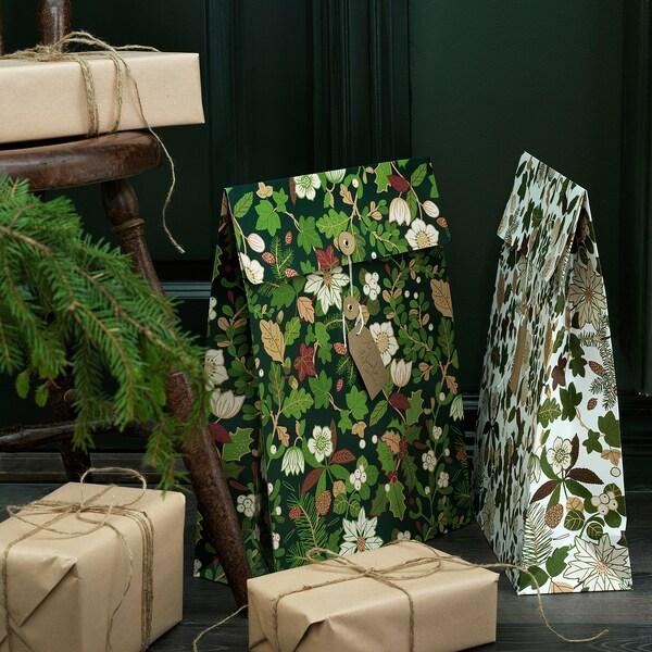 VINTER 2020 ヴィンテル 2020 ギフトバッグ, クリスマスローズ模様 グリーン, 33x42 cm/9 l
