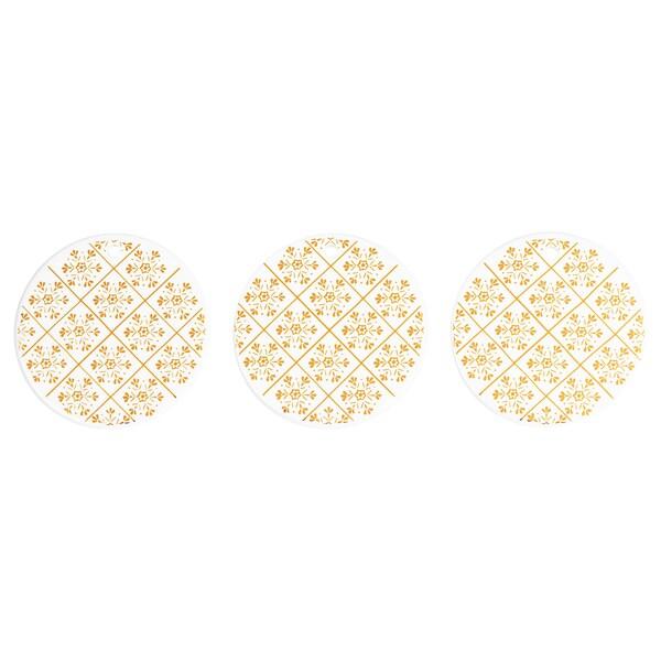 VINTER 2020 ヴィンテル 2020 ハンギングデコレーション, ホワイト/雪の結晶模様 ゴールドカラー, 7 cm