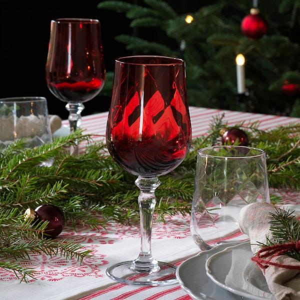 VINTER 2020 ヴィンテル 2020 ワイングラス, クリアガラス/レッド, 33 cl