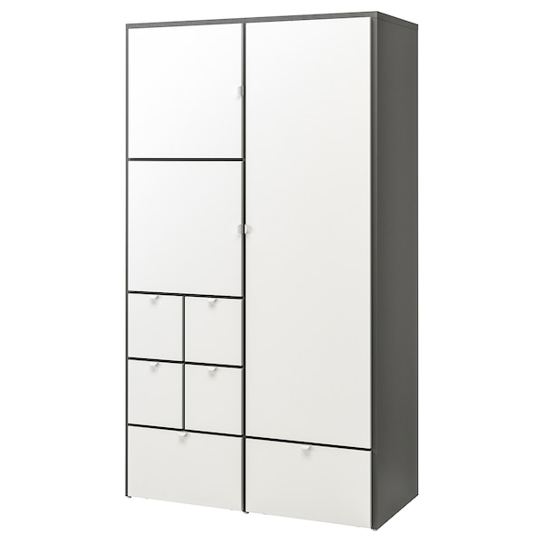 VISTHUS ヴィストフス ワードローブ, グレー/ホワイト, 122x59x216 cm