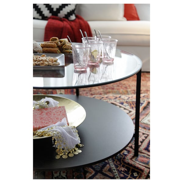 VITTSJÖ ヴィットショー コーヒーテーブル, ブラックブラウン/ガラス, 75 cm