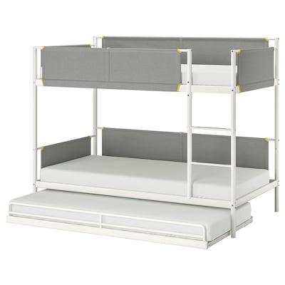 VITVAL ヴィトヴァル 2段ベッドフレーム アンダーベッド付き, ホワイト/ライトグレー, 90x200 cm