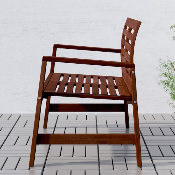 ÄPPLARÖ bench with backrest, outdoor brown stained 117 cm 65 cm 80 cm 115 cm 52 cm 42 cm